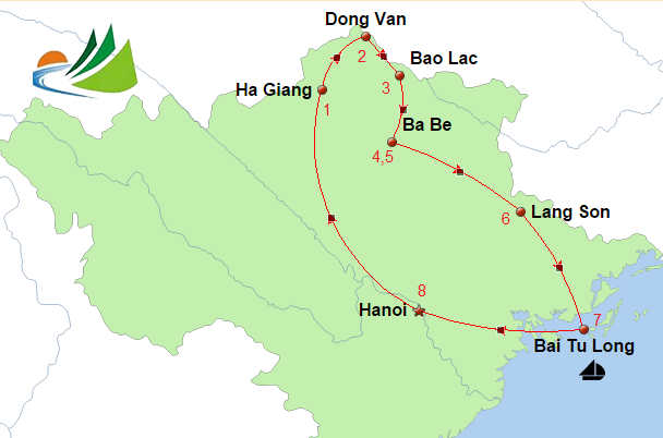 carte du CIRCUIT HA GIANG, BAO LAC, BA BE, BAIE TU LONG 8 JOURS