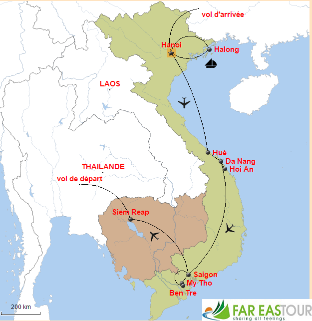 Carte du voyage combiné Vietnam Cambodge 2 semaines