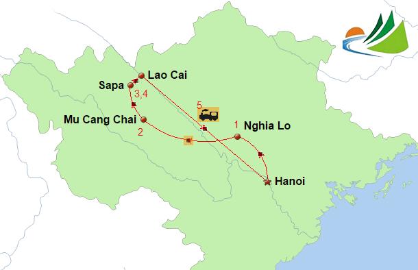 carte CIRCUIT 5 JOURS HANOI MU CANG CHAI