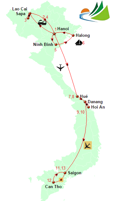 carte CIRCUIT VIETNAM AUTHENTIQUE 2 SEMAINES