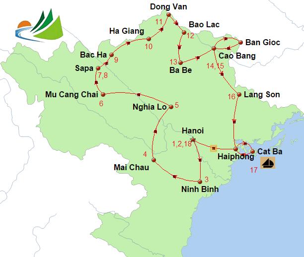 carte du circuit sur mesure Nord Vietnam 18 jours